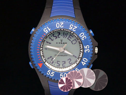 V-Yeah blue dual time sport wrist watch