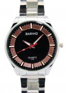 Bariho Black Dial Water Resistant Stainless Steel Quartz Watches