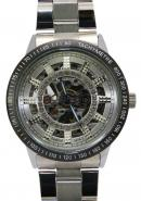 Daybird Sleek Men's Stainless Steel Strap Gemstone Inlay silver Dial Automatic Mechanical Watches