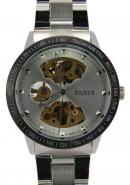 Daybird Men's Tachymetre Function Silver Hollow Out Dial Pierced Skeleton Automatic Mechanical Watch