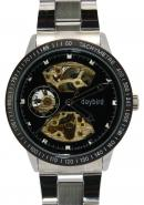 Daybird Men's Tachymetre Bezel Black Hollow Out Dial Pierced Skeleton Automatic Mechanical Watch