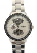 Daybird Men's Tachymetre Bezel White Hollow Out Dial Pierced Skeleton Automatic Mechanical Watch