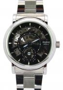 Daybird Men's Hollow Out Black Dial Silver Skeleton White Stainless Steel Strap Mechanical Timepiece
