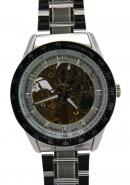 Daybird Elegant Men's Silver Hollow Out Dial Full Steel Tachymetre Automatic Decorative Watches
