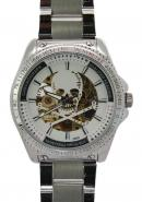 Daybird Men's Precise Chronograph Silver Skeleton Skull Bone Dial Cool Full Steel Automatic Watches