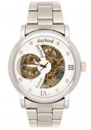 Daybird Business Men's Silver Stainless Steel Bracelet White Hollow out Dial Golden Skeleton Watches