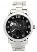 Daybird Men's 24 Hours Subdial Arabic Numerals Hour Markers Silver skeleton Black Hollow Dial Watch