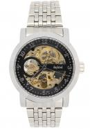 Daybird Silver Bracelet Black Dial Golden Automatic Mechanical Watch , Men's Designer Wrist Watches