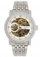 Daybird Silver Bracelet White Dial Golden Automatic Mechanical Watch , Men's Designer Wrist Watches
