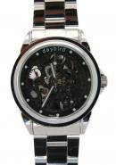 Daybird Casual Black Hollow Out Dial Stainless Steel Strap Automatic Mechanical Unisex Watches