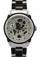 Daybird Casual Unisex Stainless Steel Band Hollow Out Dial All White/Silver Automatic Watches