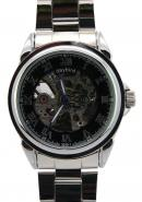 Daybird Silver Roman Numerals Black Dial Waterproof Automatic Stainless Steel Unisex Watches