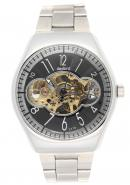 Daybird Unisex Stainless Steel Candy Pattern Skeleton Dial Automatic Mechanical Self Wind Cute Watch