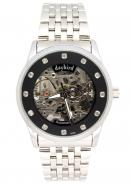 Daybird Silver Skeleton Black Dial Hollow Out Mechanical Watch With Inlaid Gemstone,unisex ornaments