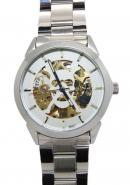Daybird Silver Skeleton Skull Bone Dial Stainless Steel Unisex All White/Silver Automatic Watches