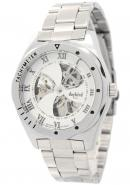Daybird Unisex's White Fan Blade Shape Dial Tachymeter Roma Dial Silver Skeleton Mechanical Watches