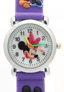 Disney Purple Analog Cartoon Watches Mickey and Minnie Mouse Pattern