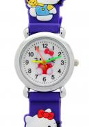 Lovely Circle Dial Purple Rubber Quartz Kids Watches Hello Kitty Theme