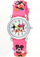 Timermall Kids Cute Mickey Minnie Mouse 3D Watchband Cartoon Water Resistant Pink Watches