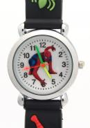 Timemall Mighty Black Spider Man Rubber Band Analogue Kids Watches