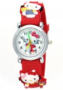 TimerMall Kids Fashion Hello Kitty Face Pattern Water Resistant Red Rubber Band Analog Watches