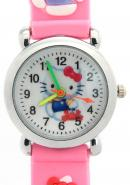 TimerMall Hello Kitty Pattern Pink Strap Clear Numbers Hour Markers Children's Watches