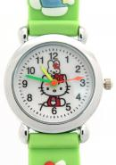 TimerMall Water Resistant Hello Kitty Pattern Green Strap Cartoon Children's Watches