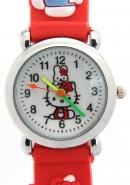 TimerMall Clear Numbers Hour Markers Hello Kitty Pattern Red Strap Children's Watches
