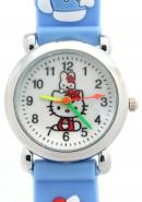 TimerMall Analogue Hello Kitty Pattern Light Blue Band Round Dial Kid's Watches
