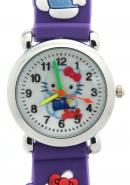 TimerMall Clear Numbers Hour Markers Round Dial Purple Water Resistant Children's Watches