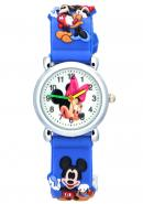 Kid's Mickey Mouse Cartoon 3D Strap Waterproof Analogue Quartz Time Teacher Watches in Blue
