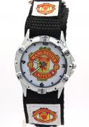 Timermall Manchester United FC Black Fabric Velcro Strap Analogue Sport Watch
