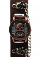 TimerMall Skeleton Bone Brown Metal Case White Dial Coffee Band Analogue Watches