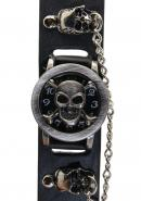 TimerMall Skeleton Bone Metal Case Black Dial Black Strap Quartz Watches
