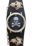 TimerMall OEM Skull Bone Pattern Dial Black Chainlet Analogue Watches