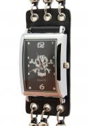 TimerMall Skull Bone Black Synthetic Strap Rectangle Dial Watches