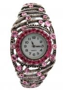 TimerMall Ladies' Pink Metal Case Round Face Silver Band Watches