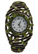 TimerMall Round White Dial Green Flower Analogue Bracelet Watches