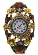 TimerMall Trendy Heart Shape Gold Flower With Ruby Lady Watches