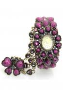 Timermall Purple Crystal Women's Analogue Bronze Bangle watches