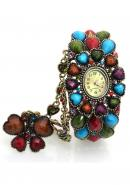Timermall Colorful Gem Ladies Analogue Quartz Gold Bangle watches