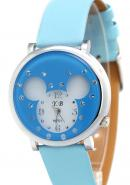 YB Women's Light Blue Colour Strap Bear Head Dial Synthetic YB Watches