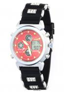Ohsen Unisex Popular Dual Time Week Day Date Month Alarm Chrono Diver Stopwatch Red Sport Watches