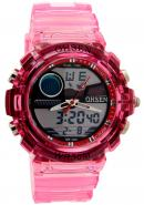 Ohsen Pink Rubber Band Digital Analogue Round Dial Waterproof Watches