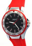 SBAO Mens Womens Youth Fashion Unidirectional Bezel Sports Quartz Watches Black Dial Red Silicone