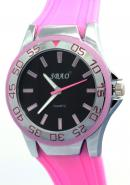 SBAO Mens Womens Youth Fashion Unidirectional Bezel Sports Quartz Watches Black Dial Light Pink Silicone