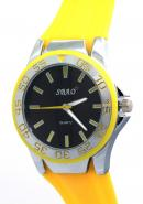 SBAO Mens Womens Youth Fashion Unidirectional Bezel Sports Quartz Watches Black Dial Yellow Silicone