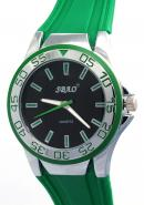 SBAO Mens Womens Youth Fashion Unidirectional Bezel Sports Quartz Watches Black Dial Green Silicone