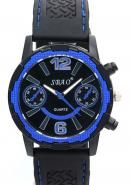 SBAO Mens Fashion Two Decorative Subdial Blue Bezel Black Rubber Strap Quartz Sports Watches
