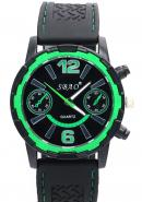SBAO Mens Two DECO Subdial Green Bezel Stainless Steel Back Analogue Quartz Sports Watches